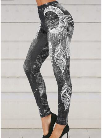 Print Plus Size Halloween Cropped Casual Sporty Yoga Pants Leggings