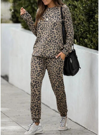 Leopard Casual Sporty Suits