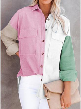 Color Block Lapel Long Sleeves Casual Blouses