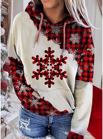 Print Color Block Grid Long Sleeves Christmas Sweatshirt