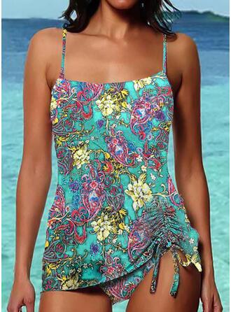 Floral Drawstring Strap Elegant Bohemian Tankinis Swimsuits