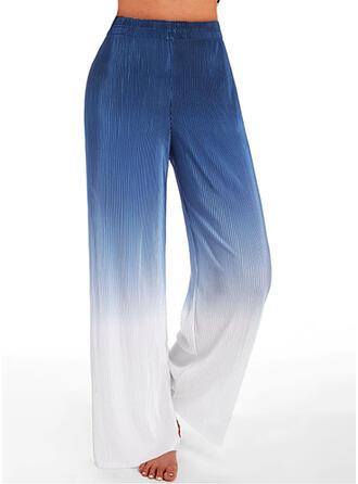 Color Block Long Boho Sporty Shirred Lounge Pants