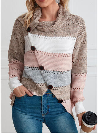 Striped High Neck Casual Sweaters