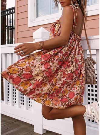 Floral Sleeveless A-line Knee Length Sexy Dresses