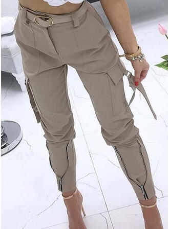 Solid Tribal Long Casual Sexy Pocket Shirred Pants