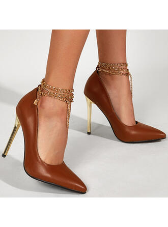Women's PU Stiletto Heel Pumps Closed Toe With Chain Solid Color shoes