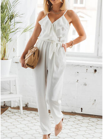 Solid Spaghetti Strap Sleeveless Casual Sexy Jumpsuit