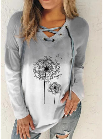 Print Dandelion V-Neck Long Sleeves Casual Blouses