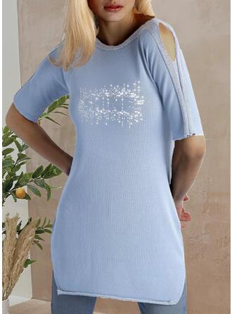 1/2 Sleeves Cold Shoulder Sleeve Shift Above Knee Casual Dresses