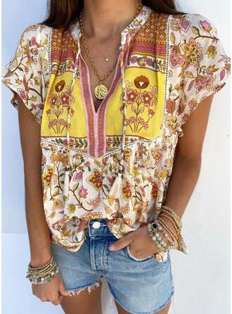Print Floral Tassel V-Neck Short Sleeves Casual Blouses