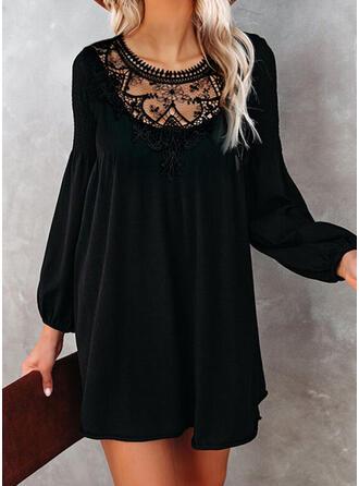 Lace/Solid Long Sleeves/Lantern Sleeve Shift Above Knee Little Black/Elegant Dresses