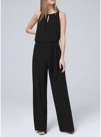 Solid Round Neck Sleeveless Casual Elegant Vacation Jumpsuit