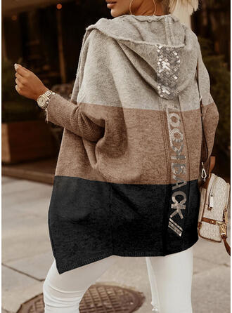 Color Block Letter Hooded Casual Cardigan