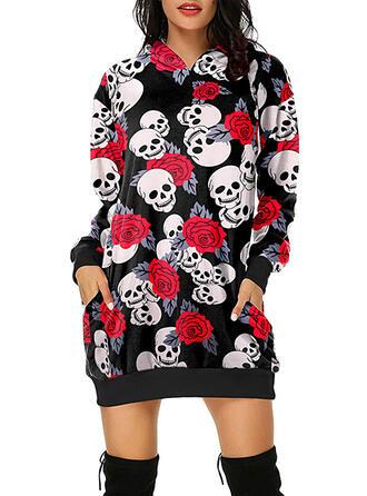Print/Floral Long Sleeves Shift Above Knee Casual/Halloween Sweatshirt Dresses