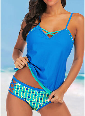 Hollow Out Cross Strap V-Neck Fashionable Vintage Casual Tankinis Swimsuits