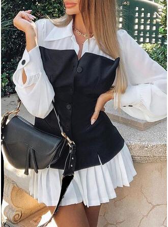 Color Block Long Sleeves/Lantern Sleeve A-line Above Knee Casual/Elegant Shirt/Skater Dresses