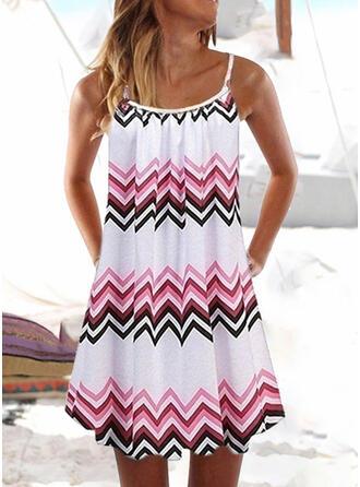 Stripe Splice color U-Neck Fresh Cover-ups Swimsuits