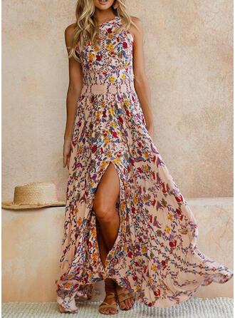 Print/Floral Sleeveless A-line Skater Casual/Boho/Vacation Maxi Dresses
