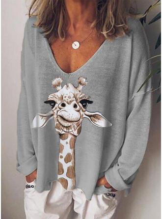 Animal Print V-Neck Long Sleeves Casual Knit Blouses
