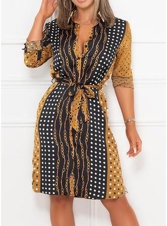 Color Block/PolkaDot Long Sleeves A-line Knee Length Casual Dresses