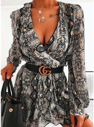 Leopard Chiffon Long Sleeves Hourglass Above Knee Elegant Dresses