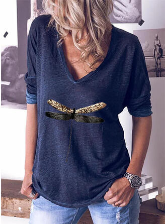 Animal Print V-Neck Long Sleeves T-shirts