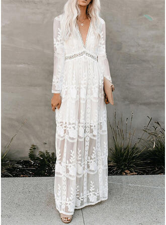 Lace/Solid Long Sleeves A-line Skater Elegant Maxi Dresses