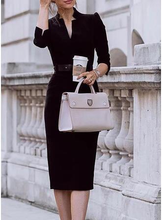 Solid 3/4 Sleeves Sheath Little Black/Casual/Elegant Midi Dresses