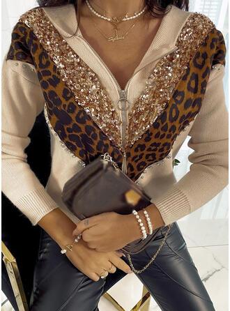 Color Block Leopard Sequins V-Neck Casual Cardigan