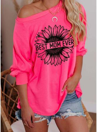 Print Floral One Shoulder 3/4 Sleeves Sweatshirt
