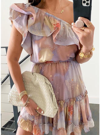 Print Sleeveless Asymmetrical Above Knee Party/Vacation/Cute Dresses