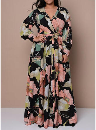 Print/Floral Long Sleeves A-line Skater Casual/Elegant Maxi Dresses