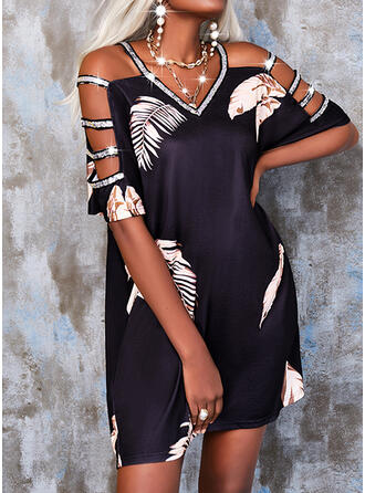 Print/Sequins Short Sleeves Shift Above Knee Casual Tunic Dresses