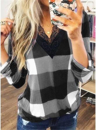 Lace Plaid V-Neck Long Sleeves Casual Blouses