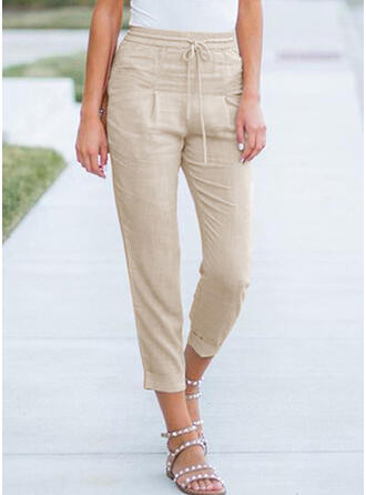 Solid Drawstring Casual Plain Lounge Pants