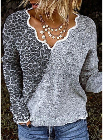 Animal Print V-Neck Sweaters