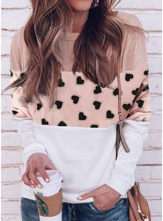 Print Color Block Heart Round Neck Long Sleeves Casual Blouses