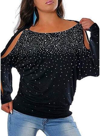 Sequins Cold Shoulder Long Sleeves Plus Size Casual Blouses