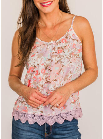 Floral Lace Spaghetti Straps Sleeveless Tank Tops