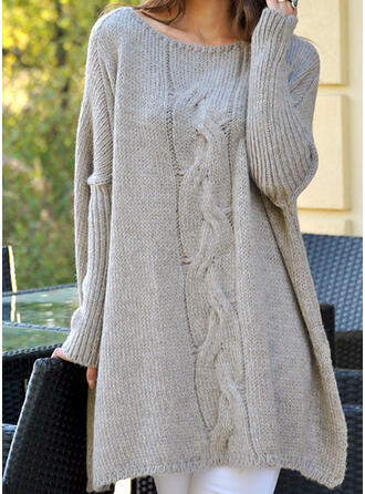 Solid Cable-knit Round Neck Casual Long Sweaters