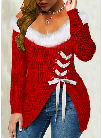 Christmas Solid V-Neck Casual Sweaters