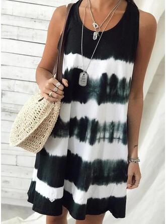 Tie Dye Sleeveless Shift Above Knee Casual/Vacation Tank Dresses