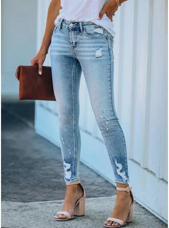 Plus Size Ripped Sexy Plain Denim & Jeans