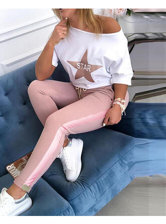 Round Neck Long Sleeves Print Casual Classic Top & Pants Sets