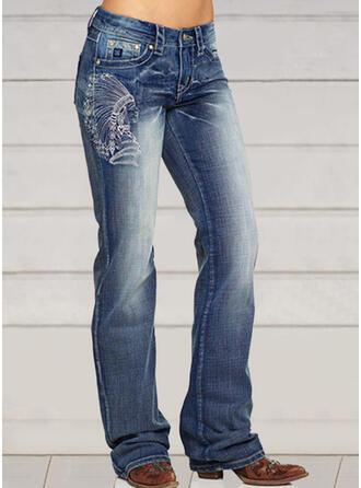 Embroidery Plus Size Elegant Skinny Vintga Denim & Jeans