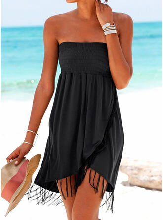 Solid Color Strapless Sexy Fresh Boho Cover-ups Swimsuits