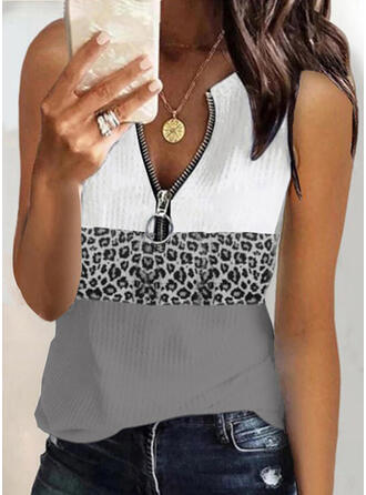 Color Block Leopard Knit V-Neck Sleeveless Tank Tops