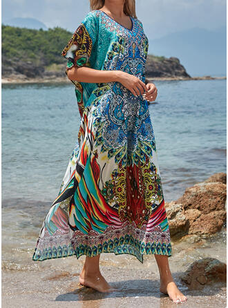 Colorful Print V-Neck Sexy Beautiful Fresh Cover-ups Swimsuits