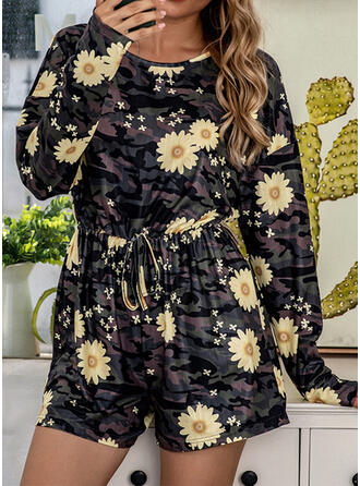 Polyester Print Floral Round Neck Long Sleeves Romper