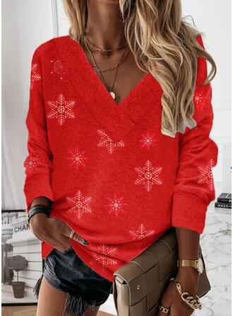Christmas Solid V-Neck Long Sleeves Christmas Sweatshirt